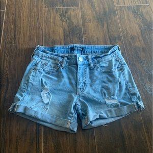 low rise Aeropostale medium wash midi shorts